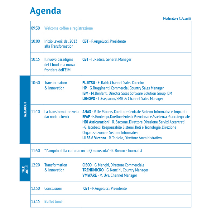 CBT: l'agenda