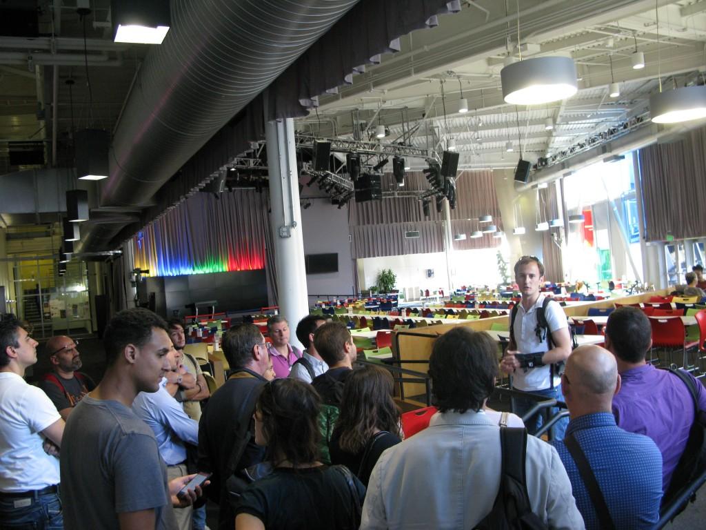Nella mensa principale di Google, Mountain View, con Stefano Menti
